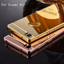 Xinchentech For Xiaomi Mi3 Case Luxury Mirror Metal +Acrylic Hard Back Cover For Xiaomi 3 Fundas Phone Bag Accessory Capa(China)
