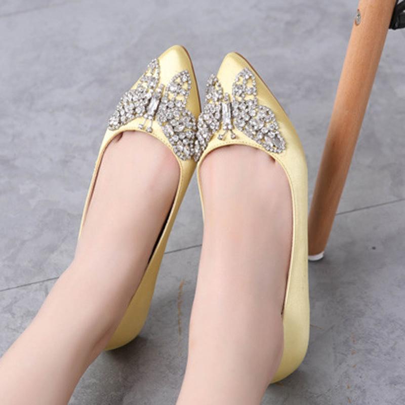 2017 Brand Large Size Wedding Women Flats Spring Autumn Pointed Toe Rhinestone Flat Heel Femal Shoes Shallow Open Single ZK3.5<br><br>Aliexpress