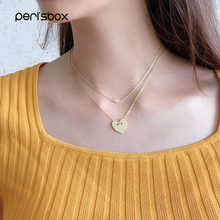Peri'sbox 2019 Fashion 925 Sterling Silver Heart Necklace for Woman Eye Cubic Zircon Necklaces Delicate Love Simple Jewelry(China)