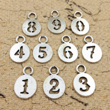 High Quality 10 Pieces/Lot Diameter 11mm Antique Silver Plated Hollow Out  Round Tag 0-9 Number Charms