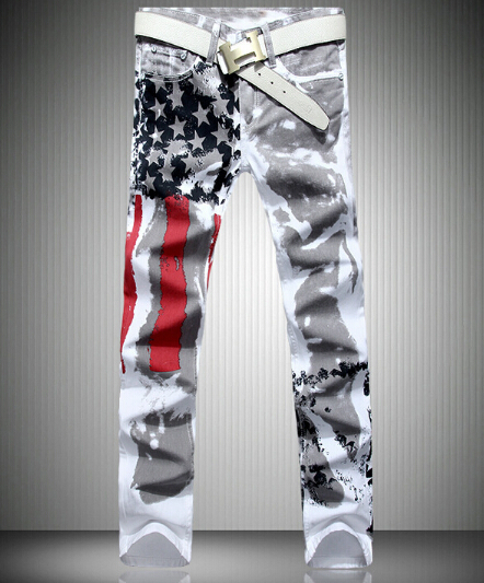 Men American Flag Jeans 2017 New Fashion Straight Fit USA Flag Printed Denim Pants Free ShippingÎäåæäà è àêñåññóàðû<br><br>