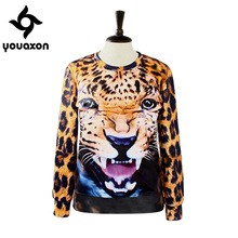 1414 Youaxon Autumn Winter Brand New Fashion Animal Leopard Tiger 3D Print Long Sleeve Hoodies Pullover for Women Sweatshirt