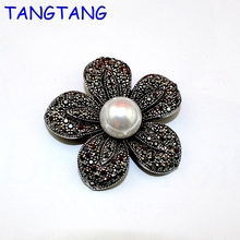 New Hot Antique Silver Finish Black Solid Rhinestone Handmade Simulated Pearls Elegant Flower Petals Rose Brooch Jewelry, BH8165(China)