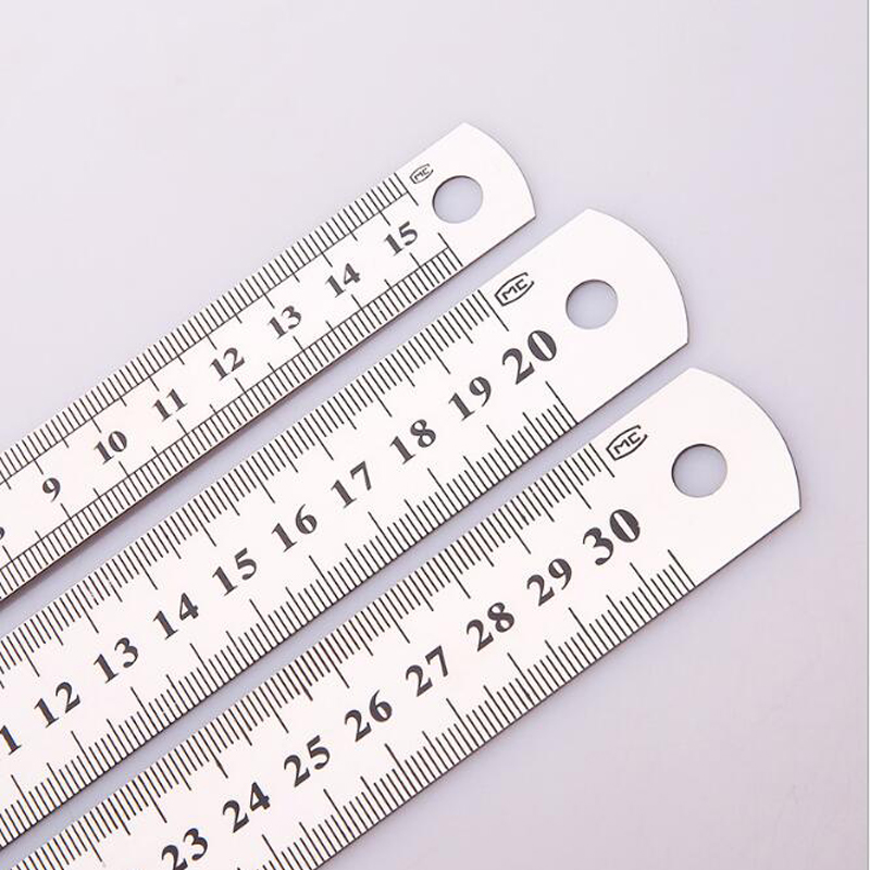 High Quality Stainless Steel Ruler 15cm20cm30cm Double  Sided Scale Standard Ruler Learning Office Supplies