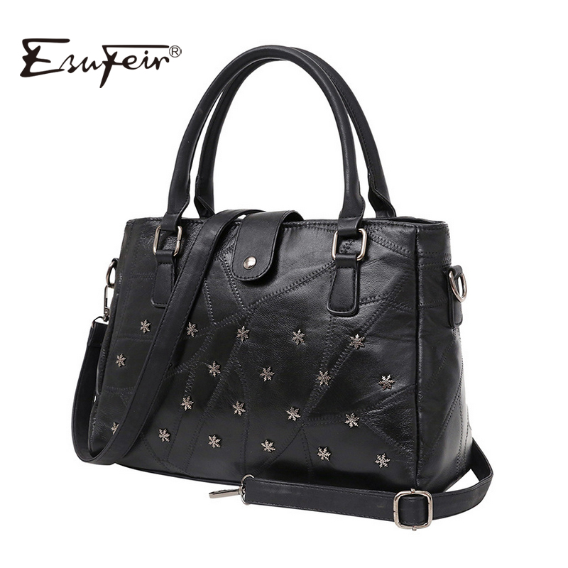 ESUFEIR Brand Genuine Leather Women Handbag Composite Bag Sheepskin Rivet Patchwork Women Shoulder Bag Fashion Crossbody Bag<br>