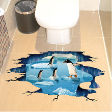 New Creative 3D Cute Penguin Cartoon Floor Sticker Waterproof Ice Age Wall Stickers For Bathroom Kids Rooms Home Decor Art Mural(China)