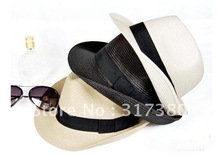 Wholesale 10pcs Plastic Men Fedora Caps Women Blank Fedoras Hats Stylish Spring Summer Beach Sun Hat Party Cap On Line China(China)