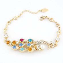New Arrival Fashion Shining Crystal Peacock Bracelets & Bangles For Women Simulated  Pearl Bracelet Jewelry Pulseiras Femininas