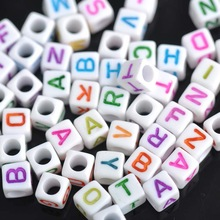 6mm 400pcs Mixed color Letter Alphabet Cube Acrylic pony neon Beads For Jewelry making DIY YKL0213
