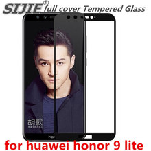 full cover Tempered Glass huawei honor 9 lite 9lite 5.2 inch Screen Protective display case frame edge black 9H