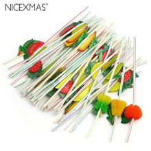 100pcs 24cm 3D Party Straw Multicolor Fruit Plastic Straw Cocktail Drinking Straw Hawaiian Wedding Party Decoration Drink Decor(China)