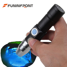 365NM Portable UV LED Flashlight USB Rechargeable Black Light Gem Torch Detector for Currency, Fluorescent, Jade, Gem, Pet Urine