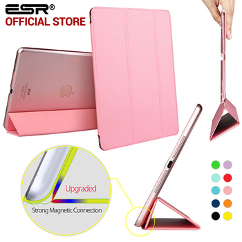 Case para ipad air, esr yippee tríptico color pu trasera transparente ultra delgado ligero smart cover case para ipad air/5