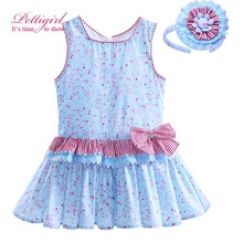 Pettigirl Summer Causal Flower Print Girl Dress With Handmade Headband Blue Kids Dresses Bontique Girls Clothing G-DMGD907-778