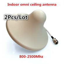 2pcs/lot 800~2500mhz omni directional indoor ceiling antenna N female type for gsm 3g mobile cell phone signal Booster repeater