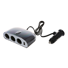 Triple 3 Way USB Socket Car Cable Cigarette Power Adapter Lighter Splitter
