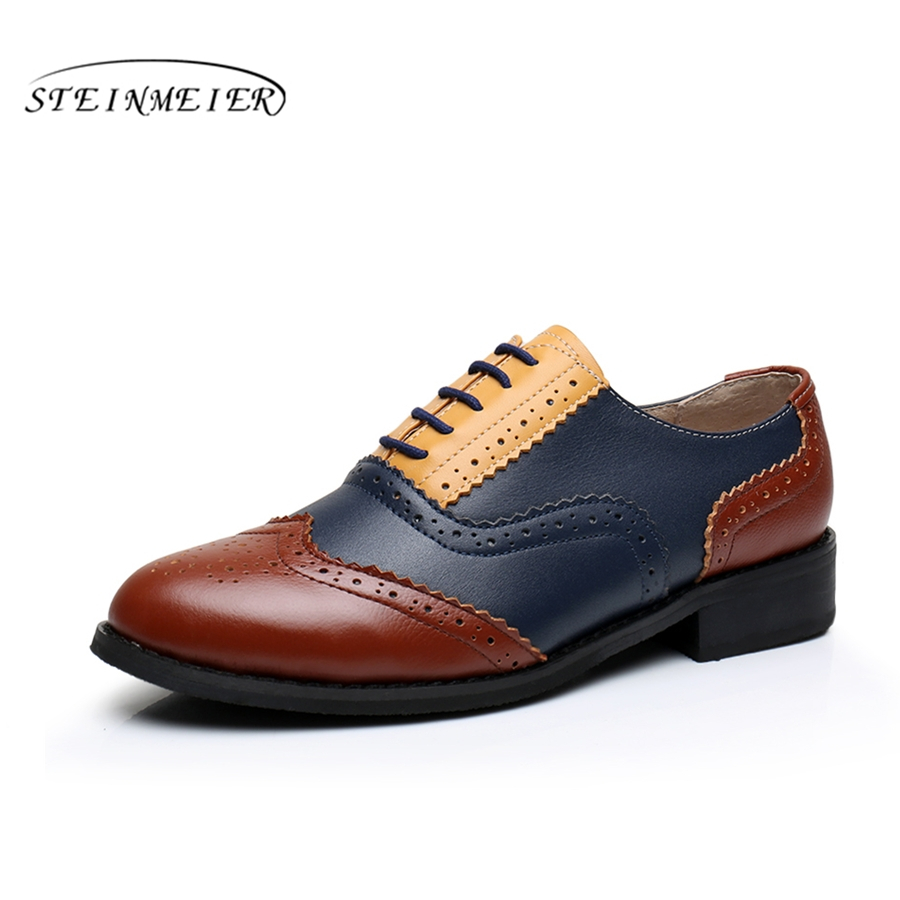 Genuine leather big woman US size 10.5 Comfortable vintage flat shoes round toe handmade brown blue oxford shoes for women fur<br>