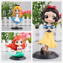 Cartoon Alice in Wonderland Alice Sirena Ariel Blancanieves Qposket PVC Figura de Acción Del Anime Muñecas Regalo de Cumpleaños