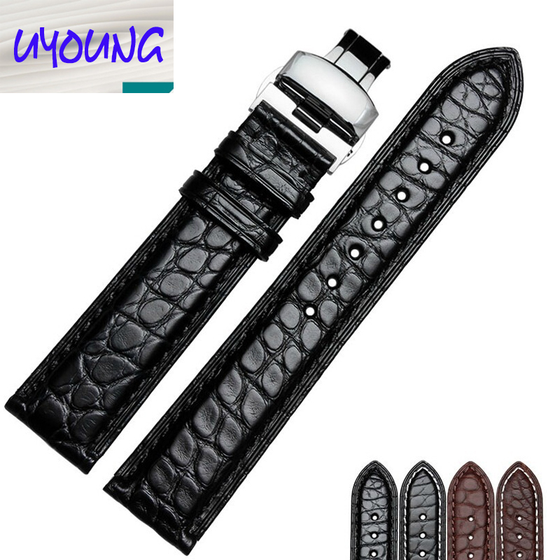 Alligator Genuine Leather Watchband Butterfly Deployment Clasp Watch Strap Replacement for Men Black Brown Color<br><br>Aliexpress