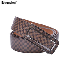 Edgension European Style Luxury Brand Name Designer Plaid Pattern Genuine Leather Belt Men Women New 2016 Fashion Accessories(China)