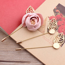 10pcs/pack 7.5cm Golden Leaf Brooch Base Diy Brooch Findings Pin Back Jewelry Acessory(China)