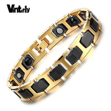 Vintely Korea Mens Health Energy Black Ceramic Bio Magnetic Germanium Bracelets Gold Color Stainless Steel Jewelry(China)