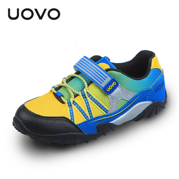UOVO 2016 spring and autumn kids shoes elastic hook and loop children sport shoes mesh breathable boys sport shoes