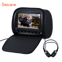 Seicane 9 inch 800*480 Colorful Headrest DVD Player with FM Games and Zipper Cover(1 PCS) Black Grey Beuge(China)