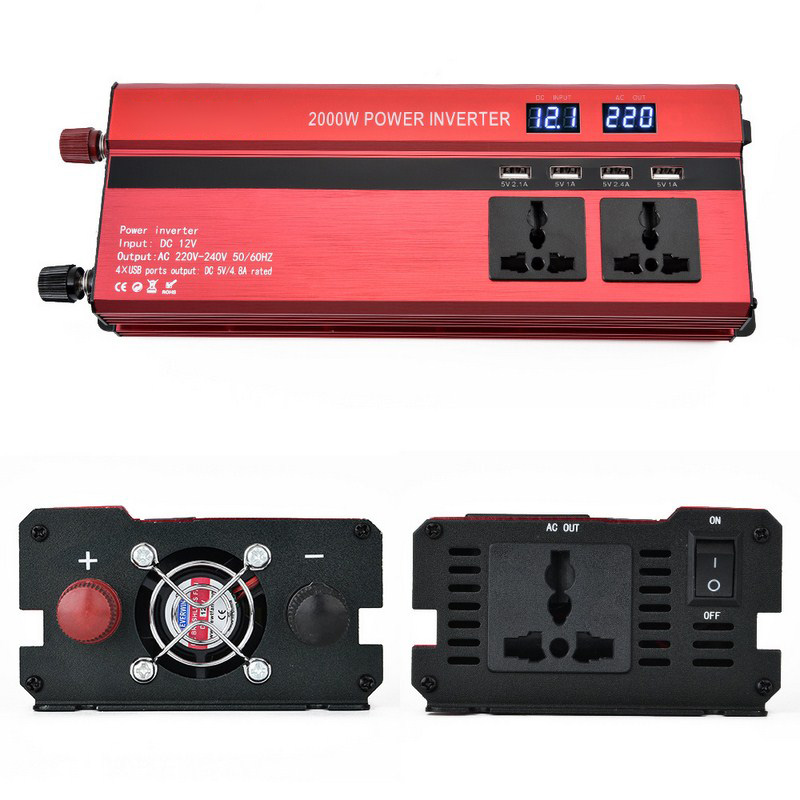 2000W Car LED Inverter 12v 220v Converter DC 12 v to 220v 4 USB Ports Charger Veicular Car Power Inverter Dual Display Inversor (6)