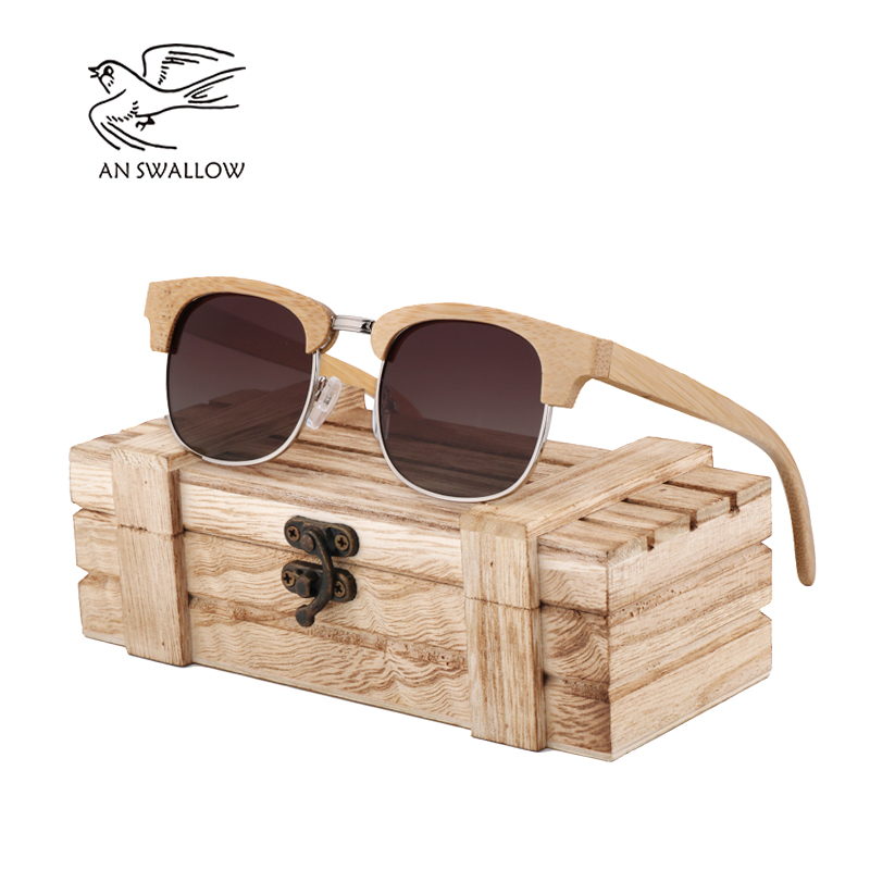AN SWALLOW Nature Brand Unique Design Bamboo Sunglasses Women Men Handmade Sun Glasses for Gift Feminino 2018 New