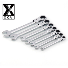 XKAI 8.10.12.13.14.17.19mm Flexible Head Ratchet Spanner Combination wrench a set of keys ratchet handle tools torque wrench(China)