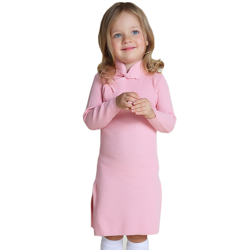 Girls Winter Sweater Dresses Toddler Baby Girls Winter Spring Qipao Chinese Year Dress Thicker Red Pink Cheongsam Sweater Dress<br><br>Aliexpress