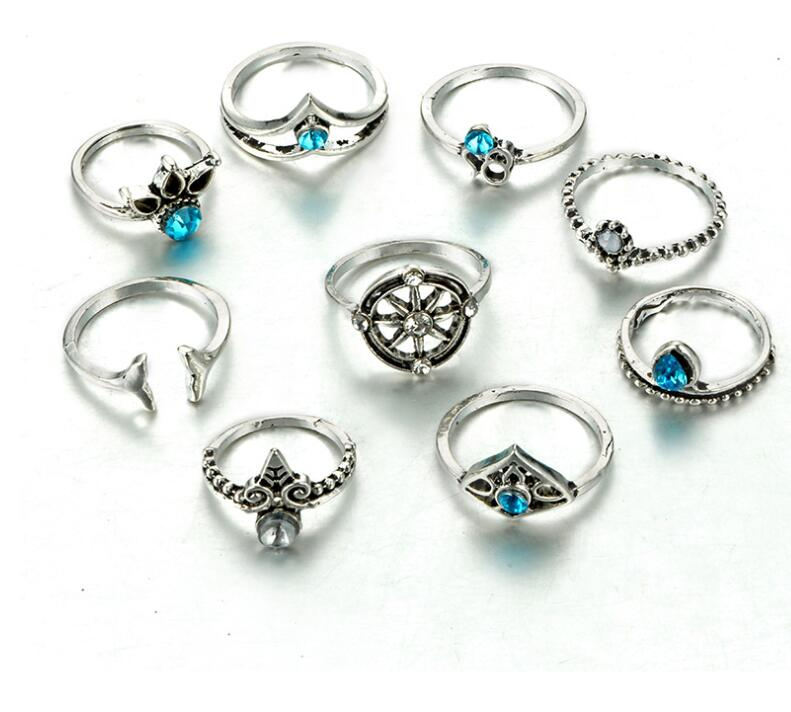 9PCS  Vintage Gold Color Blue Crystal Mermaid Rings