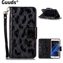 Guuds for Samsung S7 S7Edge Luxury Laser Butterfly Optical Maser Leather Wallet Case for Samsung Galaxy S7 Edge s7edge