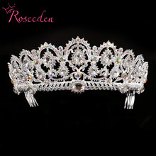 Exquisite AB Stones Wedding tiaras Quinceanera Pageant Crowns Silver Rhinestone Hair Accessories Jewelry For Bride RE128B(China)