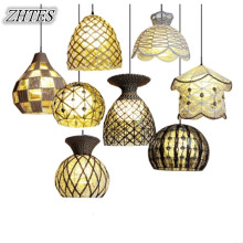 Simple Pastoral Rattan Pendant Light Shop Bar Art Weaving Creative Personality Rattan Ball  Nest Lamps 110V-240V