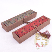 Retro fashion fringed cloth embroidered calligraphy rectangular jewelry box necklace box