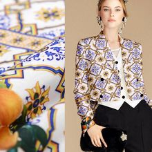 Fashion Blue and white flowers with fabric lemons latest high-end fashion apparel fabrics jacquard brocade fabric Free Shipping