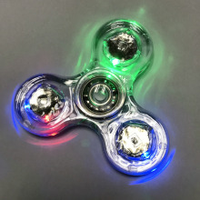 Spinner Transparent LED Light HandSpinner Fidget Crystal Plastic Spinner EDC Switch Finger Autism Relief Anxiety Stress Toy(China)