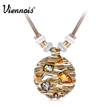 Viennois Gold Color Rhinestone Crystal Women Circle Pendant Necklace Fashion Opal Stone Long Chain Necklace Jewelry(China)