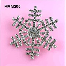 45mm Large Christmas Snowflake Rhinestone Embellishment in silve Crystal Buttonr with shank for Christmas Holiday 50pcs RMM200