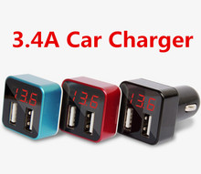 Portable 3.4A Dual USB Universal Smart LED Display  Car Charger Adapter Short Circuit Protection For Mobile Phones Tablet PC
