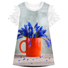 Kids Baby Girls party Dress Summer Style Girl clothing Casual Dress Fashion baby Red vase Print Children Designer Kids Clothes(China)
