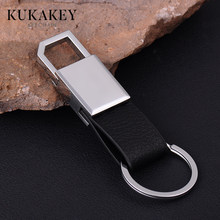 KUKAKEY Genuine Leather Business Men Keychains Bag Pendant Silver Metal Auto Jewelry Gift Car Key chains Ring Holder Chaveiro