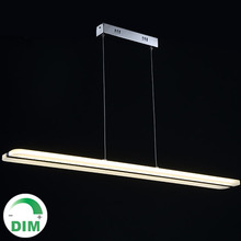 100CM office dinning room oblong long line strip rectangular Acrylic LED chandelier light dimmable with long strip hanging lamp