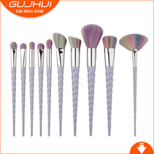 10 Unicorn Make Up Brushes, New Spiral Thread, Ox Horn Makeup Brush, GUJHUI Brush(China)