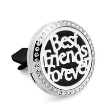 Crystal best friends forever Magnetic Essential Oil Car Diffuser Vent Clip 316 Stainless Steel Perfume locket with 10p Pads(China)