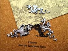 10pcs--Dragon Charms Antique Tibetan silver Dragon Charms pendants ,DIY Supplies 50x20mm(China)