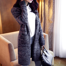 autumn winter lady long style casual thick warm pocket sweater cardigans  lady elegant open sweater cardigans