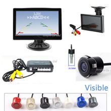 "Vehicle 5"" Inch HD Car Video monitor + 170 Angle Waterproof form Rear View Camera + Car Parking Radar alarm Sensor System Assist"